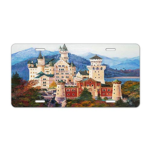 """Mugod Castle Painting Aluminum License Plate Original Oil Painting of Famous Neuschwanstein Castle in Bavaria Decorative Car License Plate Cover with 4 Holes Car Tags 6""""x12"""""""