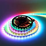 WS2813 LED Strip Lights, Dream Color DC 5V 16.4ft 300Leds Individually Addressable Color Changing LED Tape Light, WS2813 IC 60 Pixels/M 5050 RGB SMD Flexiable LED Rope Light Black PCB Non-waterproof