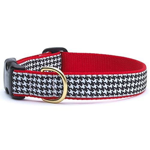 Up Country-HTB C L Classic Black Houndstooth Dog Collar, Width 1, Size L
