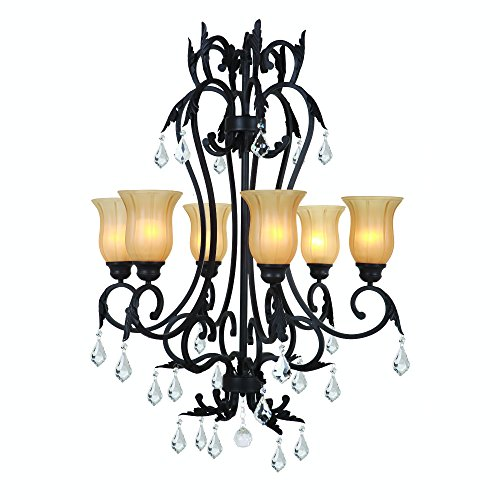 Yosemite Home Décor 84236-6SS Vantage Collection Six Light Chandelier, Sierra Slate