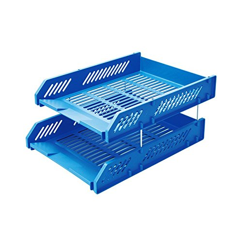 Comix Office File Tray Two Stackable Layers with Metal Brackets - Light Blue (File Organizer Desktop)