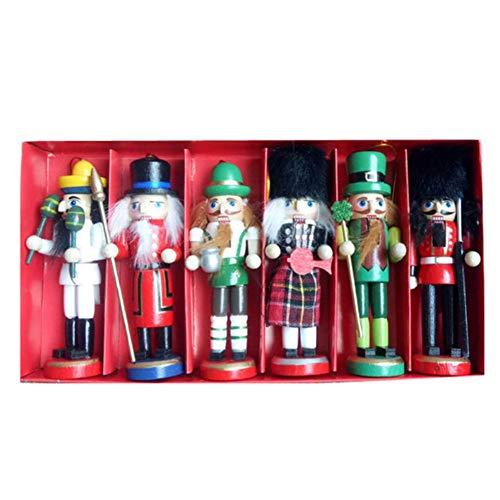 Decoración de Navidad para decoración de computadora de madera, diseño de marionetas, 6piece A