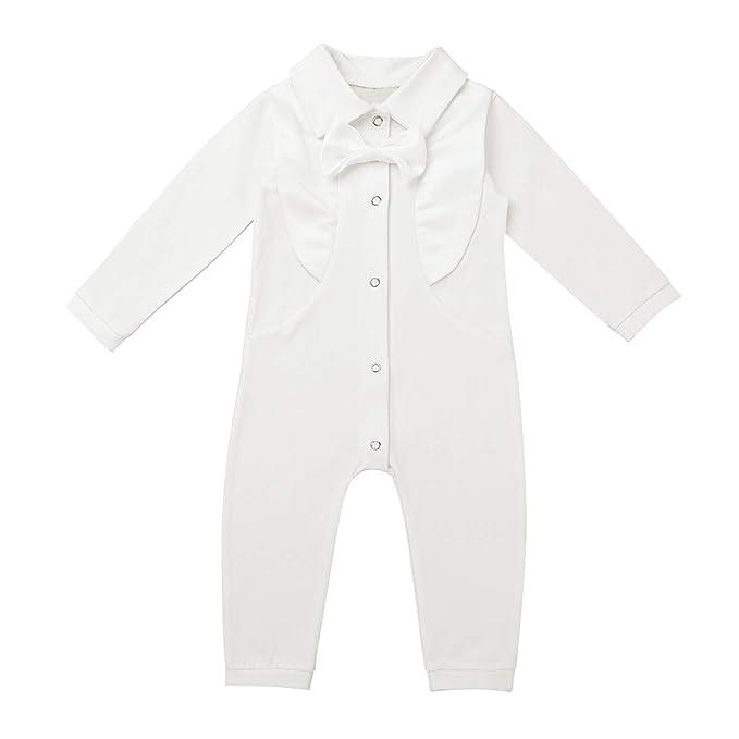 dPois Pelele Bautizo Manga Larga para Bebés Body Cuello Algodon Unisex Niño Niña Mono Largo Conjunto de Ropa Interior Una Pieza Pijama Dormir Boda ...