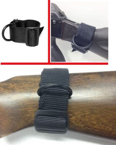 Ultimate Arms Gear Ambidextrous Slip On Stock Buttstock Black Sling Mount Strap Loop Adapter Rifle Shotgun Attachment with D-Ring For ATI German Sports Gun GSG5 GSG-5 MP5 Savage Axis 99