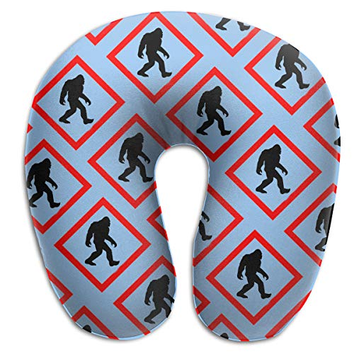 NiYoung 100% Memory Foam Airplane Pillow, Car Pillow, Chin, Head, Neck Supporting U Shape Pillow, Fashion Unique Decor Travel Pillow Bigfoot Crossing Signs for Office, Home, Nap Sleep