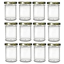 Nakpunar Mason Glass Jars with Gold Lids, 7.5 oz (12 Pieces)