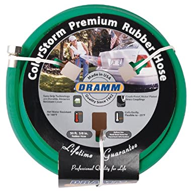 Dramm 17004 ColorStorm Premium 50-Foot-by-5/8-Inch Rubber Garden Hose, Green