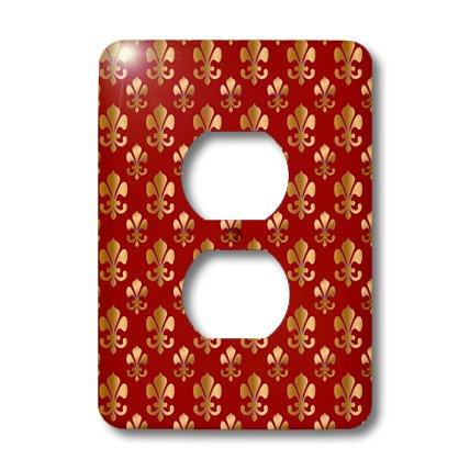 3dRose LLC lsp_30759_6 Gold Fleur De Lis Pattern On A Maroon Background Christian Saints Symbol 2 Plug Outlet Cover