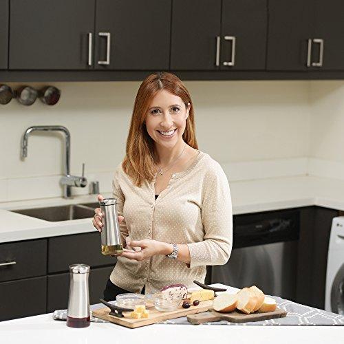 CHEFVANTAGE Olive Oil and Vinegar Cruet Dispenser Set with Elegant Glass Bottle and Drip Free Design - Red by CHEFVANTAGE (Image #2)