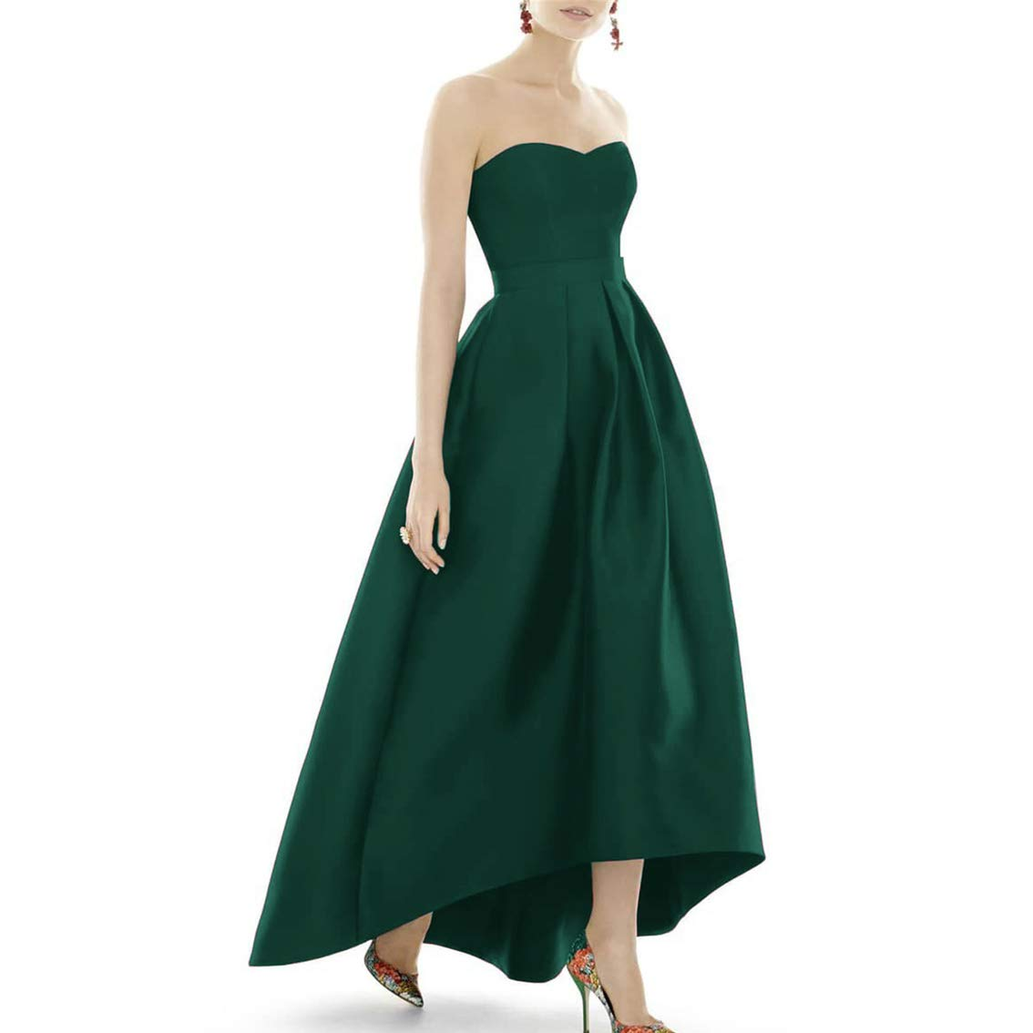 Dark Green XSWPL Women's Strapless High Low Bridesmaid Dresses Sweetheart Satin Prom Gowns ALine