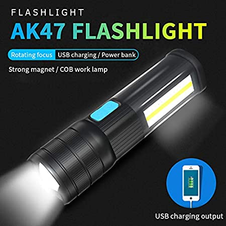 SecurityIng T6 LED Rechargeable Emergency Flashlight Work Camping COB Light Red Blue White LED Zoom Adjustable Focus Water-Resistant Torch with Magnetic Base Black 2400mAh USB Output Power Bank