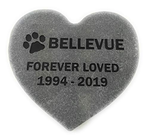 Own Pet Memorial - GraphicRocks Pet Memorial Headstone Grave Marker Sandblast Engraved Gray Natural Stone Heart