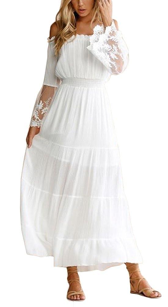 b59b726d4a7 Ufatansy Women s Summer Dresses Lace Long Sleeves Off Shoulder Dress White  Beach Dress Swing Boho Dress  Amazon.co.uk  Clothing