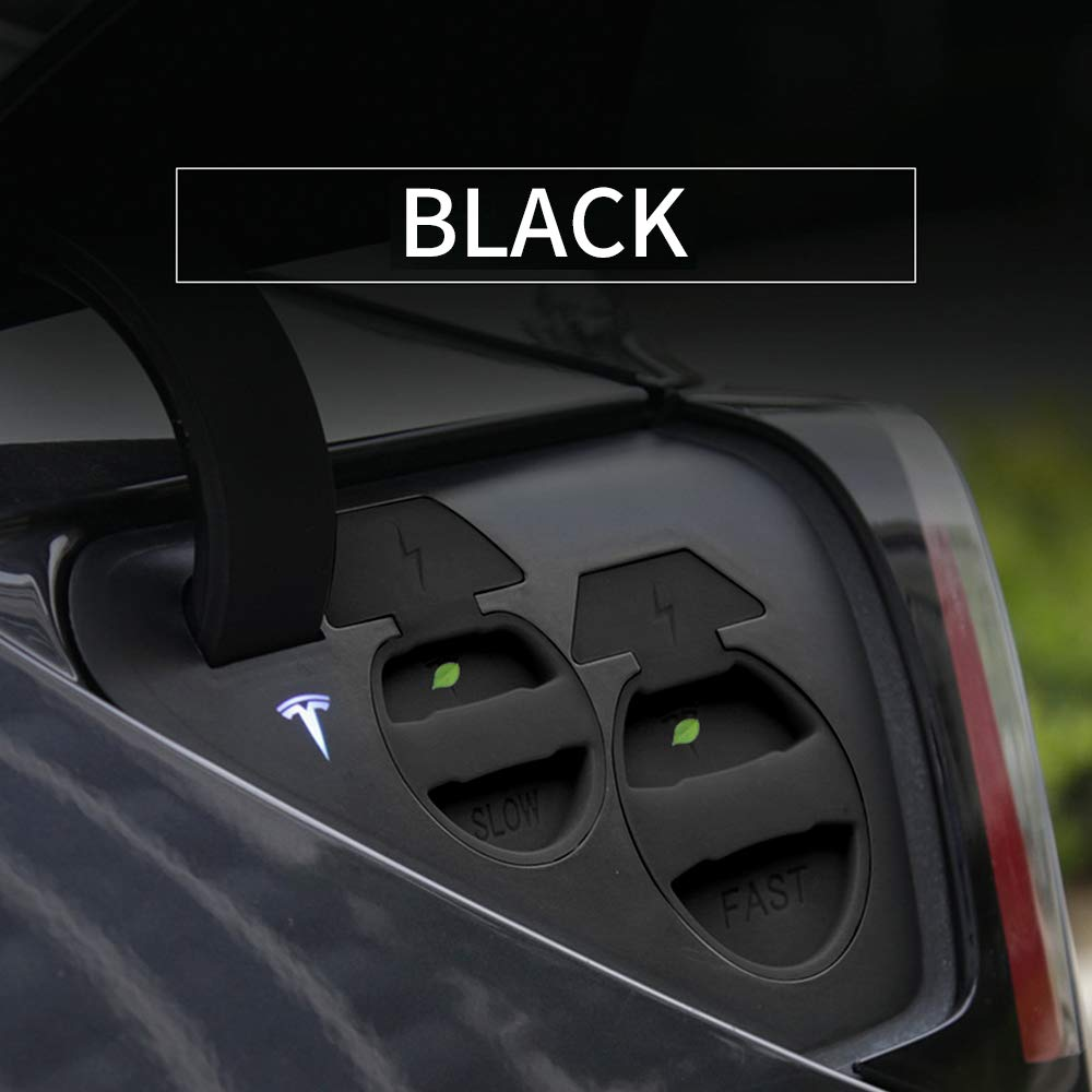 Model 3 Car Charging Port Cover Waterproof Dust Cover Automotive Modification Accessories for Tesla Model 3 (Black) by Bomeilai
