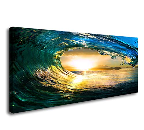 Sunset Painting Art - Posters & Prints Artwork Wall Art Waves and Sunset Paintings Stretched and Framed Canvas Prints Picture Blue Ocean Seaview for Home Decorations Wall Decor