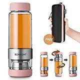 Tea Infuser Bottle Tumbler Travel Mug ROMAUNT Twist Valve System Design Control Tea Concentration 14oz / 390 Ml Double Wall Tritan Bpa Free Body Compatible With Coffee Bag Pink Color