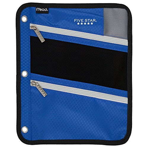 Star Holder (Five Star Zipper Pouch, Pencil Pouch, Pen Holder, Fits 3 Ring Binders, Cobalt Blue / Black (50642BC7))