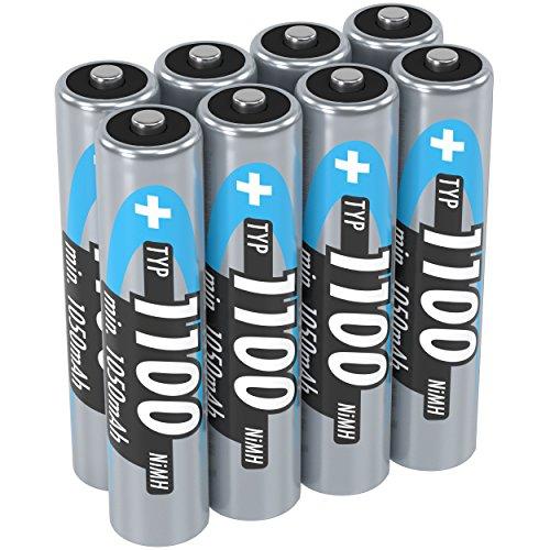 ANSMANN AAA Rechargeable Batteries 1100mAh high-capacity high-rate rechargeable NiMH AAA Battery for flashlight etc. (8-Pack)