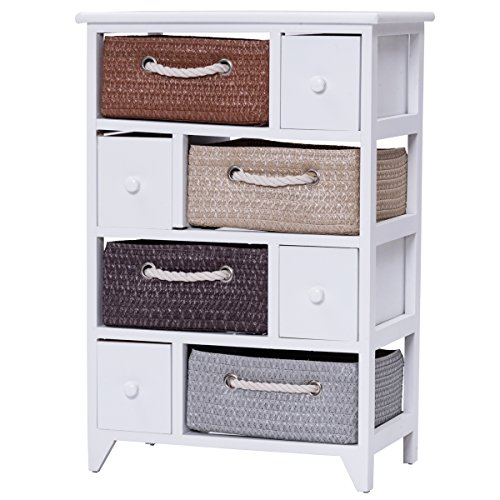 Giantex Storage Chest Unit Rack Shelf Organizer with 4 Drawers 4 Woven Baskets Wood Frame Chest Cabinet for Bathroom Home Storage Furniture, White (4 Drawer Chest Cabinet)
