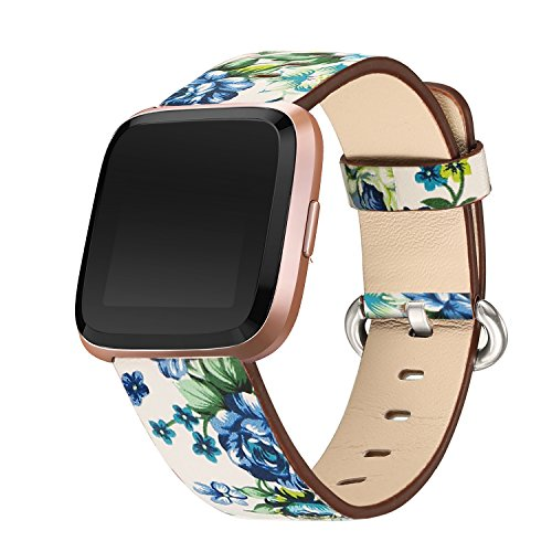 bayite Leather Bands Compatible Fitbit Versa, Slim Wristband Replacement Accessories Fitness Classic Straps Women, White/Blue Flower