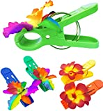 (Set of 4) Beach Towel Tropical Hawaiian Clips JUMBO SIZE (5 inches) for Beach Chair or Pool Loungers on Your Cruise. (Colorful orchid/Plumeria)