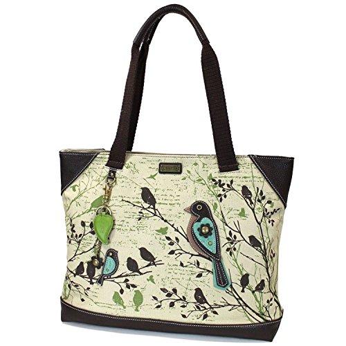 Chala Safari - Tote Bag - Detachable Charm / Keychain - Safari Bird, Sand, Canvas - Bird Tote