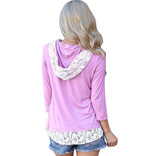 Dames Manches XL Dentelle Capuchon Chemise Violet Loisirs Creuse T S Slim Longues Solide Violet Couleur Mode Shirt Vert Huateng dzpZxq0d