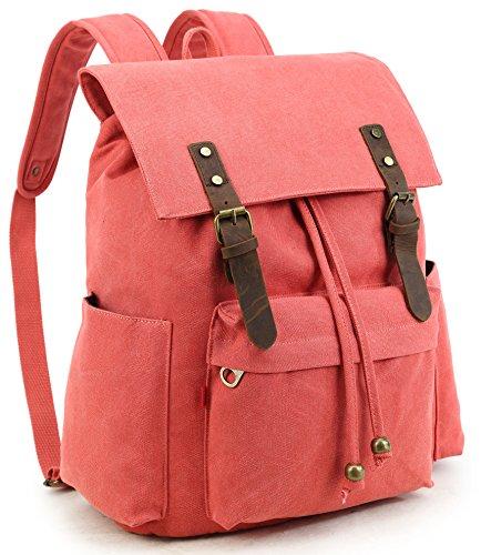 (Crest Design Vintage Canvas Laptop Backpack School Bag Hiking Travel Rucksack 25L)
