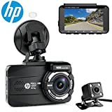 HP Dual Channel Lens Dash Cam for car Full HD 1080P Front & Rear Built-in GPS DVR Dashboard Camera Recorder,3.0'',Sony Sensor,Night Vision,WDR, Loop Recording, Parking mode