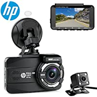 HP Dual Channel Lens Dash Cam for car Full HD 1080P Front & Rear Built-in GPS DVR Dashboard Camera Recorder,3.0,Sony Sensor,Night Vision,WDR, Loop Recording, Parking mode