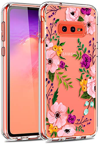 Galaxy s10e Case with Kickstand, LUHOURI Clear Case Girls Women Pink Floral Heavy Duty Protective Hard PC Back Case with Shockproof Slim TPU Bumper Designed for Samsung S10e