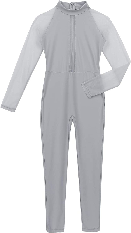Freebily Girls Mock Neck Zentai Suit Lycra Spandex Long Sleeve Footless Full Body Unitard Zipper Back Bodysuit Child Costume