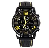 Mandy Men Fashion Motion Racing Form Sport Quartz Hour Wrist Analog Watch yellow