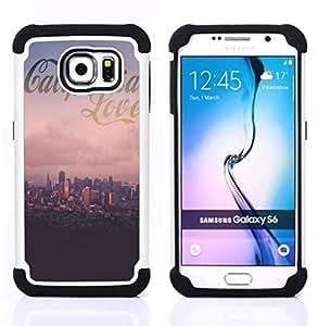 /Skull Market/ - California Summer For Samsung Galaxy S6 G9200 - 3in1 h????brido prueba de choques de impacto resistente goma Combo pesada cubierta de la caja protec -