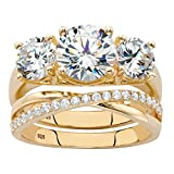 14K Yellow Gold over Sterling Silver Round Cubic Zirconia Bridal Ring Set Size 7