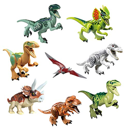 FASOTY 8 Pieces ABS Dinosaur Building Blocks Miniature Action Figures Dinosaur Toys, Jurassic World Toys Set, for Kids