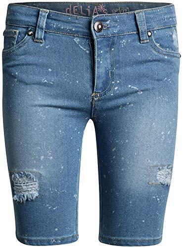 dELiAs Girls Stretch Denim Bermuda Shorts, Light Paint Splatter, Size 8'