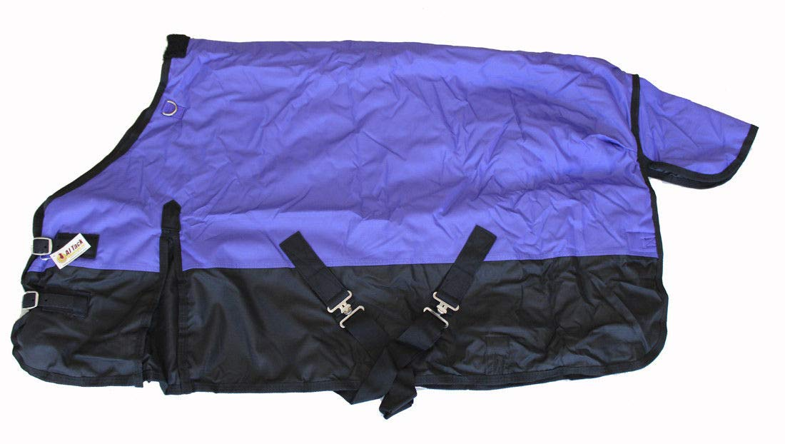 AJ Tack Wholesale Pony Horse Turnout Blanket Rip Stop 600D Water Proof 300G Medium Weight Purple 56 by AJ Tack Wholesale