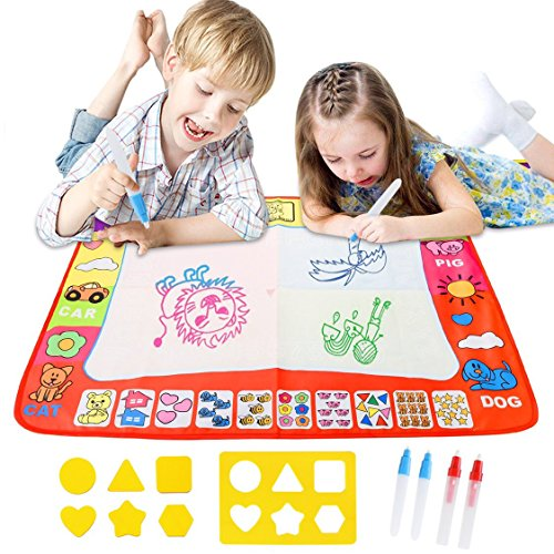 Magic Water Drawing Mat Large Doodle Mat 31.4 x 23.6in Painting Board Writing Mats With 4 Pens 8 Molds Kids Educational Learning Toy Gift for Boys Girls Toddlers Age 2 3 4 5 Year Old Toddler Toys by Awefrank