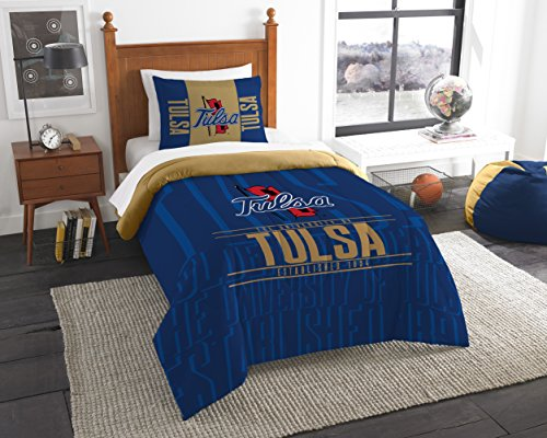 The Northwest Company Officially Licensed NCAA Tulsa Golden Hurricane Modern Take Twin Comforter and Sham
