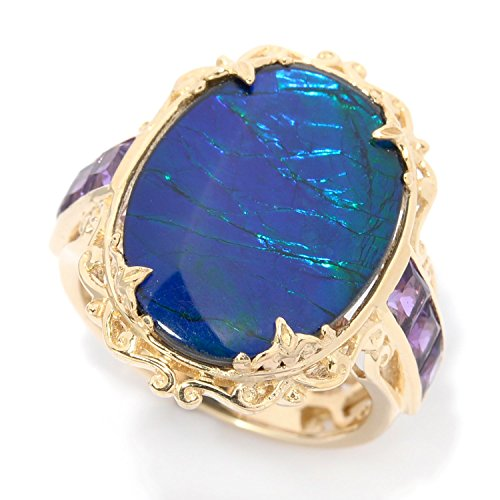 14k Ammolite Ring (Michael Valitutti 14k Yellow Gold with Purple Ammolite Cabochon and Princess cut African Amethyst)