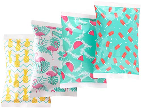 Ice Pack for Lunch Boxes - 4 Reusable Packs - Trendy Prints - Keeps Food Cold - Cool Print Bag Designs - Great for Kids or Adults Lunchbox and Cooler...