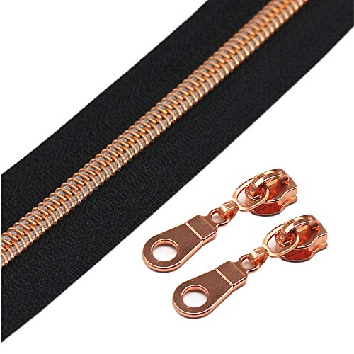 (YaHoGa #5 Rose Gold Metallic Nylon Coil Zippers by The Yard Bulk 10 Yards Black Tape with 25pcs Sliders for DIY Sewing Tailor Craft Bag)
