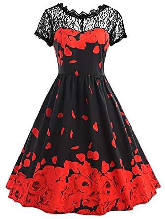 Vestido Cóctel Mujer Corta Manga Fiesta Vestidos de Encaje Floral Estampado Rosa Tallas Grandes Elegante Vintage Vestido, Negro y Rojo, 5XL