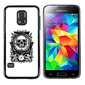 A-type Colorful Printed Hard Protective Back Case Cover Shell Skin for Samsung Galaxy S5 Mini / Samsung Galaxy S5 Mini Duos / SM-G800 !!!NOT S5 REGULAR! ( Bones Skull Mirror White Time Death )