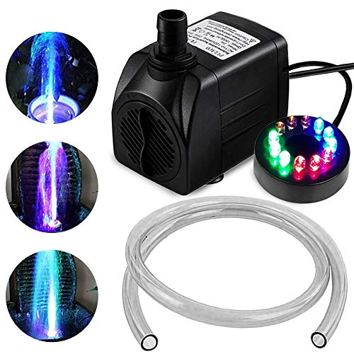 10Watt 160 GPH Submersible Fountain Pump wiht LED Light for Water Feature,Outdoor Pond, Small Pools, Aquarium Fish Tanks, Indoor Fountain Pumps, Home Décor Fountain