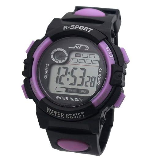Relojes De Pulsera,Reloj Deportivo para Niños Luz Nocturna Electrónica Deportes Impermeable Al Aire Libre Violeta: Amazon.es: Relojes