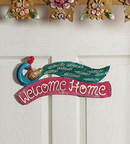 999Store Peacock Crafted Beautiful Painted Custom Name Plate / Welcome Main  Door Hanging Indian Home Decorative