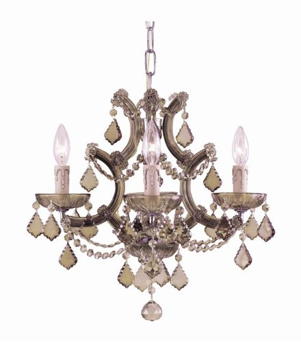 Crystorama 4474-AB-GT-MWP, Maria Theresa Mini Crystal Chandelier Lighting, 4 Light, 240 Watts, ()