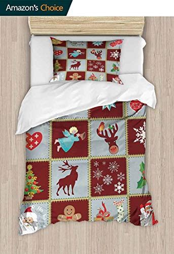 Temox Angel Cotton Bedding Sets, Christmas Tree Reindeers Noel Santa Presents Snowman Pine Tree Traditional, Print Queen 1 Duvet Cover 1 Pillowcases Wrinkle Fade Resistant,79 W x 90 L Inches